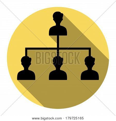 Social media marketing sign. Vector. Flat black icon with flat shadow on royal yellow circle with white background. Isolated.