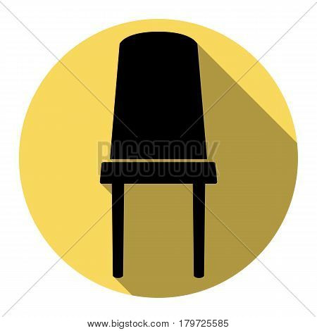 Office chair sign. Vector. Flat black icon with flat shadow on royal yellow circle with white background. Isolated.