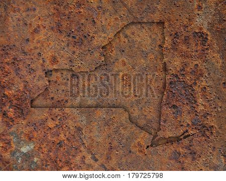 Map Of New York On Rusty Metal