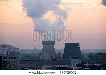 coal fired power station powerplant smog pollution concept and global warming concept
