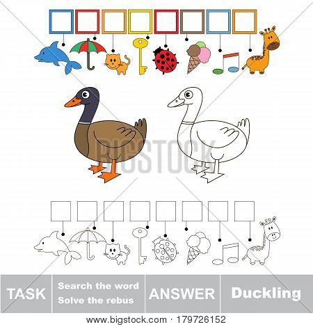 Educational puzzle game for kids. Find the hidden word Duckling.