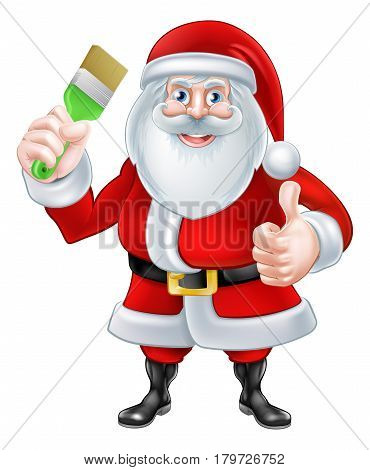 A Christmas cartoon illustration of Santa Claus holding a paintbrush and giving a thumbs up