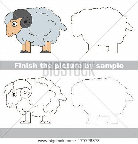 Drawing worksheet for preschool kids with easy gaming level of difficulty, simple educational game for kids to finish the picture by sample and draw the White Bighorn Sheep