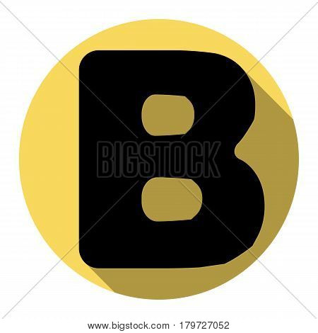 Letter B sign design template element. Vector. Flat black icon with flat shadow on royal yellow circle with white background. Isolated.