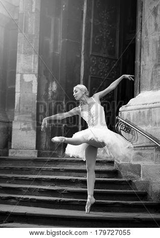 Prima ballerina. Monochrome portrait of a stunning ballet dancer performing on an old stairway