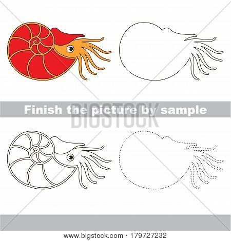 Drawing worksheet for preschool kids with easy gaming level of difficulty, simple educational game for kids to finish the picture by sample and draw the Red Beautiful Nautilus