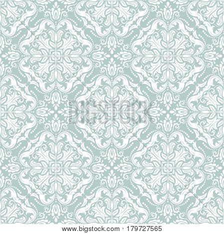 Damask vector classic pattern. Seamless abstract background with repeating elements. Orient light blue and white background