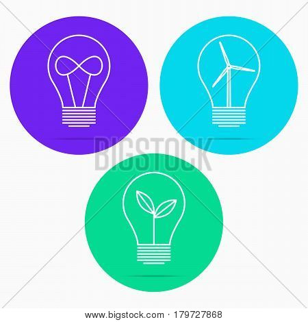 Light bulb with young shoots, infinity sign, windmill. Vector illustration