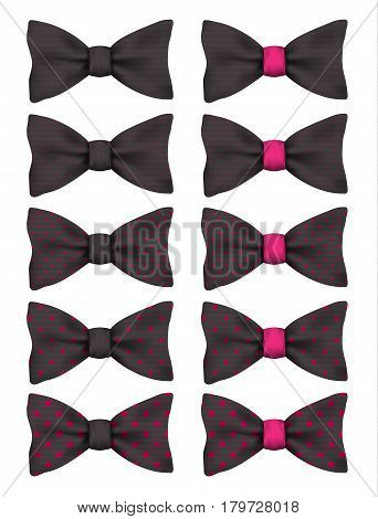 Black bow tie with pink dots set realistic vector illustration isolated on white background