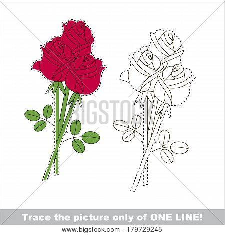 Red Rose Bouquet. Dot to dot educational game for kids.
