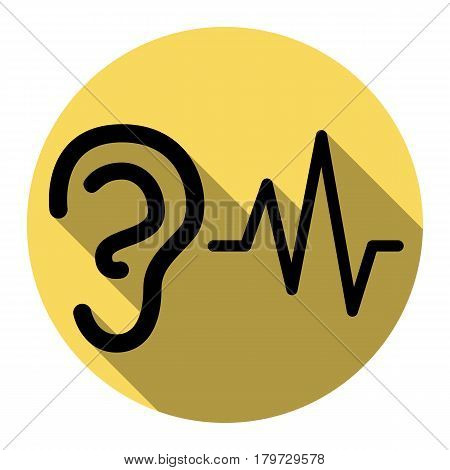 Ear hearing sound sign. Vector. Flat black icon with flat shadow on royal yellow circle with white background. Isolated.