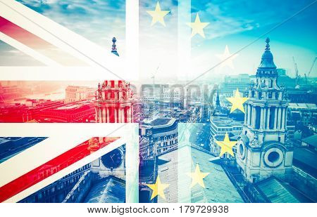 brexit concept - Union Jack flag and EU flag combined over iconic London landmarks - UK leavs the EU