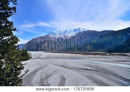 Kaligandaki river and Nilgiri Himal Lower Mustang on Annapurna high mountain region Nepal.