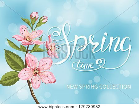Blooming branch of sakura and Spring Time lettering on a blue blurred background.Vector Illustration.