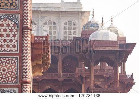 sandstone buildings at akbar's tomb, sikandra, near agra, uttar pradesh, india