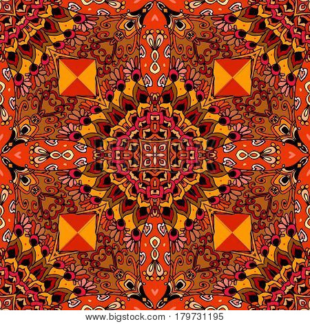 Fiery bandana print in mexican style. Seamless vector pattern.