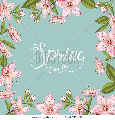 Cherry blossom card.Frame of blooming Sakura flower and Spring Time lettering on pistachio background.Vector Illustration.