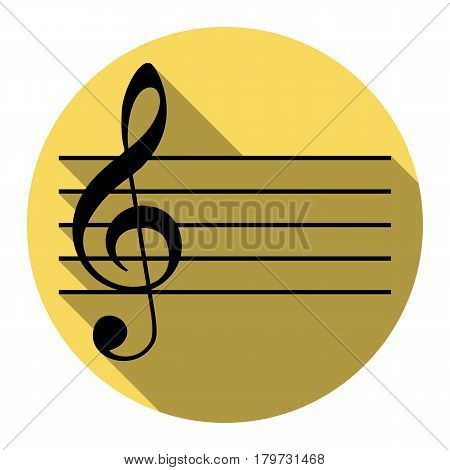 Music violin clef sign. G-clef. Vector. Flat black icon with flat shadow on royal yellow circle with white background. Isolated.