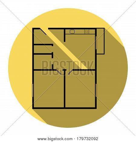 Apartment house floor plans. Vector. Flat black icon with flat shadow on royal yellow circle with white background. Isolated.