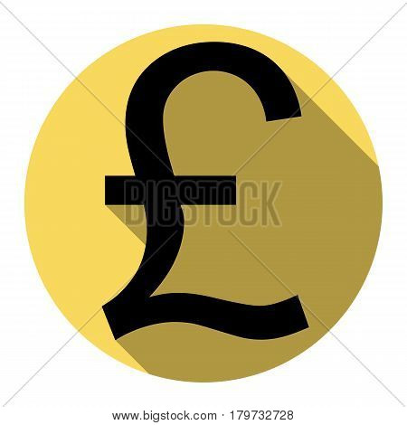 Turkish lira sign. Vector. Flat black icon with flat shadow on royal yellow circle with white background. Isolated.
