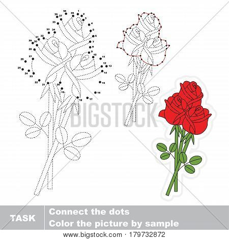 Three Red Rose Bouquet. Dot to dot educational numbers game for preschool kids.