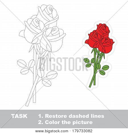 Three Red Rose Bouquet. Dot to dot educational tracing game for preschool kids.