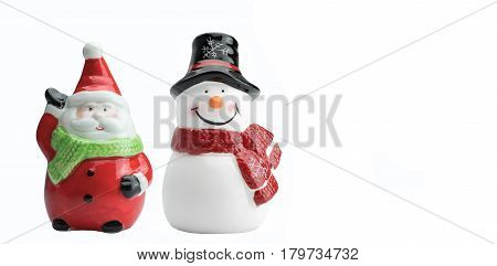 Ceramic Santa Clause and snowman model isolated on white background