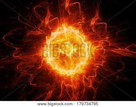 Red glowing fiery fireball lightning computer generated abstract background 3D rendering