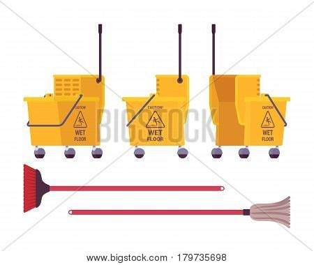 Yellow floor cleaning cart on wheels with bucket to separate clean and dirty water, caution wet floor sign, easily use and save cleaning time, mop, isolated on white background, different positions