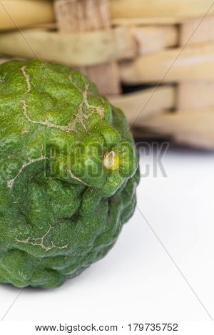 The Kaffir lime beautiful on white background.