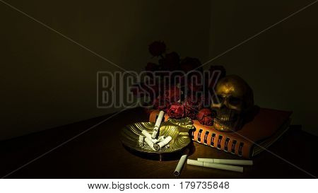 Low key image of Cigarettes causing death