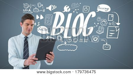 Digital composite of Businessman with tablet and Blog Business graphics drawings