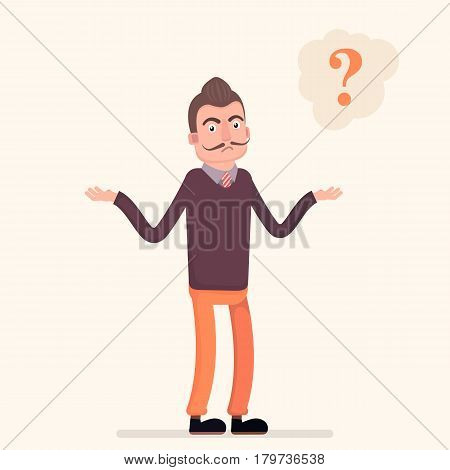 Helpless young man in a businesslike from, spreading his hands a mental bubble. Vector illustration in a flat style.
