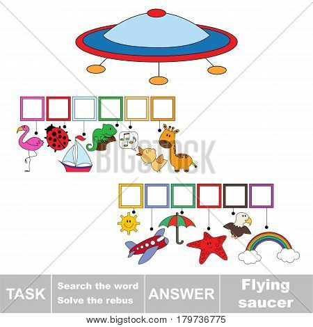 Educational puzzle game for kids. Find the hidden word Flying Sauser