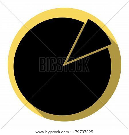 Finance graph sign. Vector. Flat black icon with flat shadow on royal yellow circle with white background. Isolated.