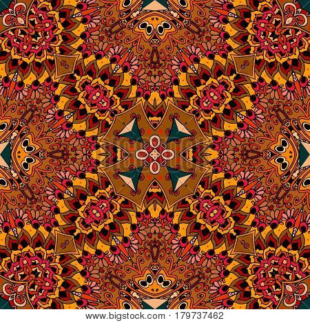 North American Indian seamless vector pattern. Beautiful ornament in warm tones. Ethnic print for fabric. Festive tablecloth. Pillowcase, rug, scarf, blanket.