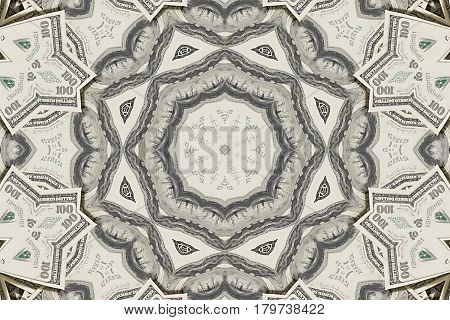 Background from a variety of hundred-dollar bills. Money money. Dollars background. Counterfeit money. Kaleidoscope.