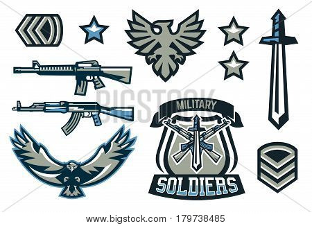 Set of military and military badges. Emblems, automatic weapons, lettering, sword, eagle, wings, templates. Vector illustration, printing on T-shirts