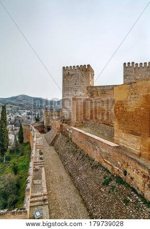 Walls and tower of Fortress Alcazaba in Alhambra Granada Spain