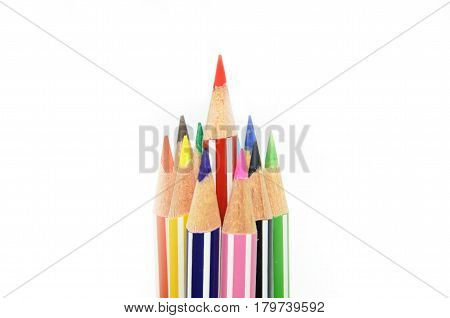 Red color pencil standing out from others