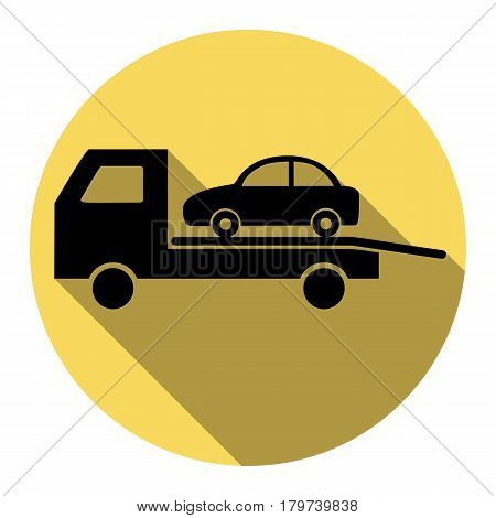 Tow car evacuation sign. Vector. Flat black icon with flat shadow on royal yellow circle with white background. Isolated.