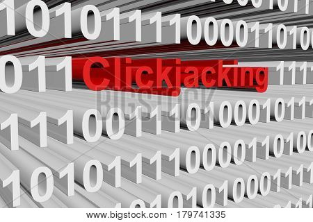 Clickjacking in the form of binary code, 3D illustration