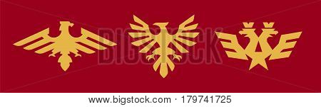 A set of logos, heraldry, eagle. Bird, wings, crown, star, Russian symbol. Vector illustration, a flat style