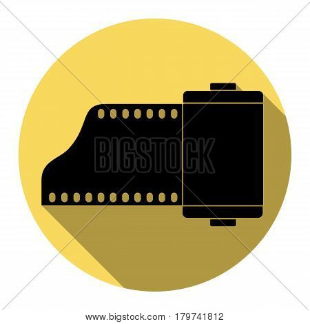 Foto camera casset sign. Vector. Flat black icon with flat shadow on royal yellow circle with white background. Isolated.