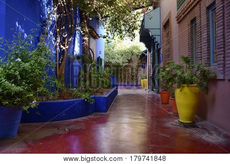 Beautiful colorful clean street of Marrakech Morocco