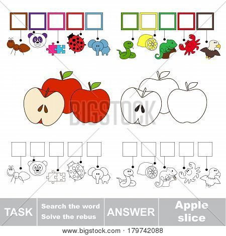 Educational puzzle game for preschool kids. Find the hidden word Apple Slice