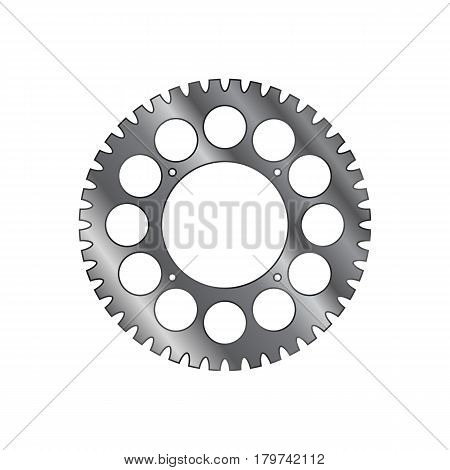 Sprocket of bicycle. Single ring crank. Isolated on white field.