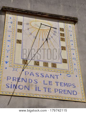Metz France - july 25 2016 : a sundial in the city center