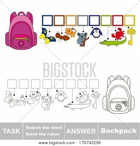 Educational puzzle game for preschool kids. Find the hidden word Backpack