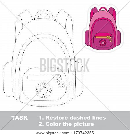 Pink Backpack. Dot to dot educational tracing game for preschool kids.